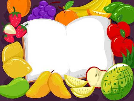 Illustration of an Opened Book Among Fruits like Mangoes, Pineapple, Apples, Lemon, Grapes, Oranges, Strawberry and Banana Stock Photo