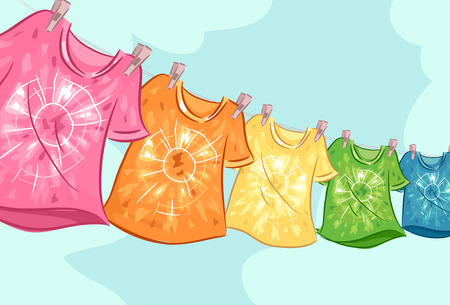 Illustration of Several Hanging Tie-Dye T-Shirts on a Clothesline Outside