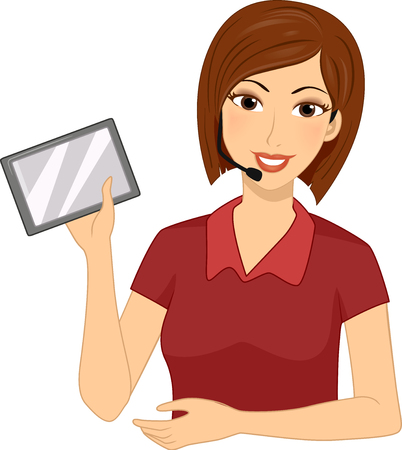 fm: Illustration of a Girl Teacher using a Personal Frequency Modulation system and a Tablet