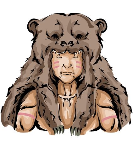 茶色のクマの頭飾りを身に着けているネイティブ アメリカン ハンターのイラスト 写真素材
