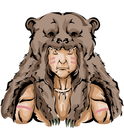 Illustration of a Native American Hunter wearing a Brown Bear Headdress