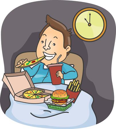 Illustratie van een man die pizza, hamburger, friet en frisdranken 's avonds laat in bed eet