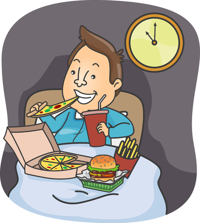 Illustration of a Man Eating Pizza, Burger, Fries and Drinking Soft Drinks in Bed Late at Night Фото со стока