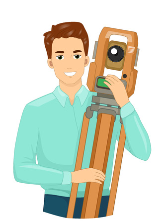 Illustration of a Surveyor Holding a Theodolite, a Surveying Instrument to Measure Horizontal and Vertical Angles