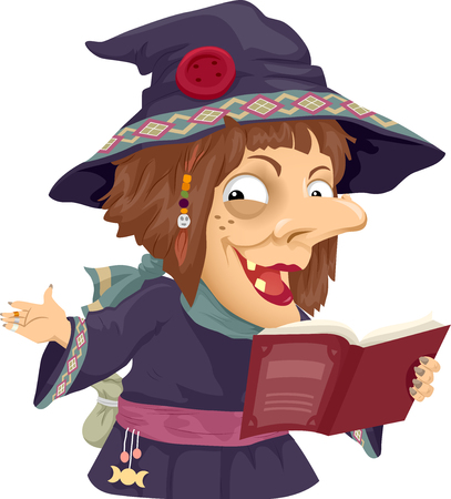 Illustration of a Scary Witch Holding an Opened Book Telling a Horror Story