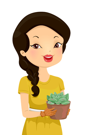 Illustration of a Girl Holding a Pot of a Succulent Plant called Graptoveria Moonglow