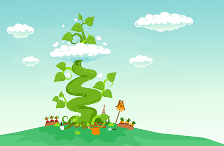 Illustration of a Giant Beanstalk Growing Past a Cloud from a Garden Below Stock Photo