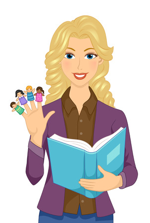 Illustration of a Girl Teacher Holding Homemade Finger Puppets and an Opened Story Book