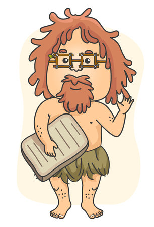 Illustration of a Caveman waving and holding a Stone Board representing a Historian Teacher