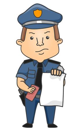 빈 티켓을 발행하는 유니폼 실망 된 경찰관의 그림