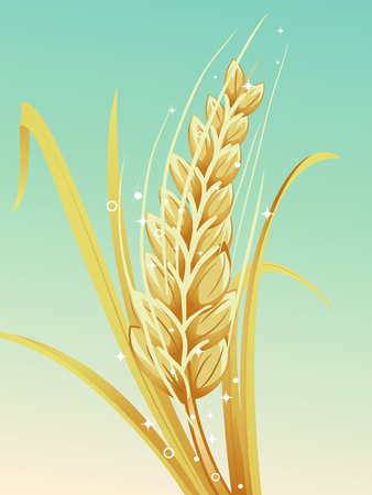 Illustration of a Glowing Cereal Grain Called Barley Against Green Background