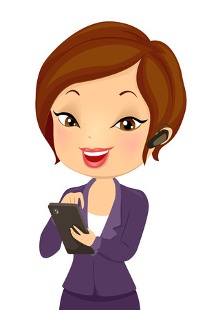 Illustration of a Girl in Business Suit Holding Mobile Phone with In-ear Headphones