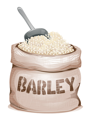 Illustration of a Sack Bag Full of Pearl Barley Grains and a Grain Scoop