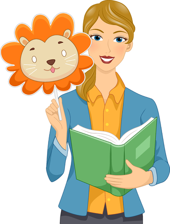 Illustration of a Girl Teacher Holding a Lion Mask and an Opened Story Book