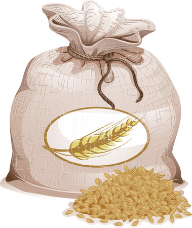 Illustration of a Tied Brown Sack Bag Full of Hulled Barley Grains for Export Stock Photo