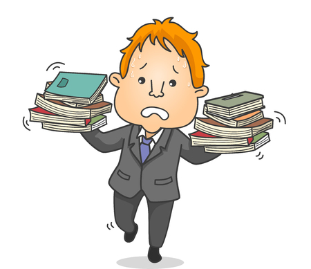 Illustration a Businessman Holding and Balancing Several Books on Both Hands