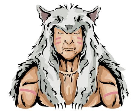 白狼の頭飾りを身に着けているネイティブ アメリカン ハンターのイラスト