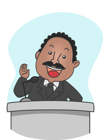 jr: Illustration of Martin Luther King giving a Speech behind a Lectern or Podium