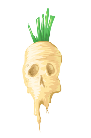 Illustration of a Genetically Modified Sugar Beet Looking Like a Poisonous Skull Stock Photo