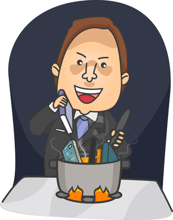 Illustration of a Businessman Placing Books in a Pot to Cook under Fire