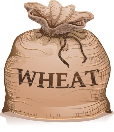 An Illustration of a Tied Brown Sack Bag Full of Wheat Grains for Export