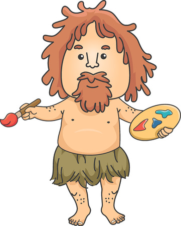 Illustration of a Caveman holding Paintbrush and Artist Palette with Paint Stock Photo