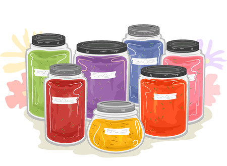 Illustration of Several Glass Jars Full of Natural Dyes Used for Crafts