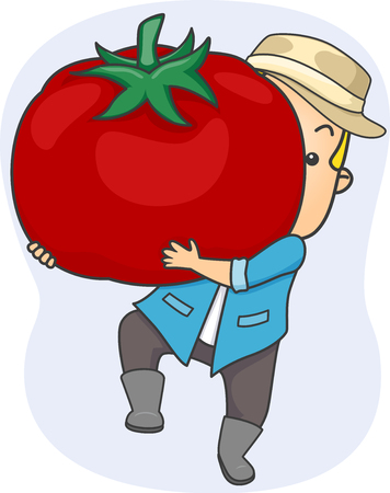 Illustration of a Farmer carrying a Huge Tomato representing the Harvest in his Farm