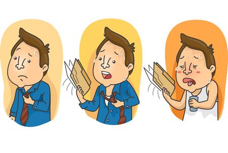 Illustratie van mannen die graden van vergelijking tonen van hete, hete tot de heetste