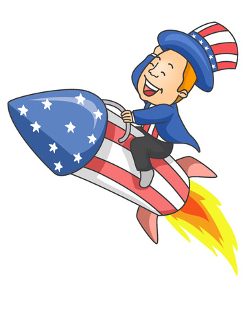 parade: Illustration of a Man wearing Uncle Sam Costume Riding a Flying Rocket