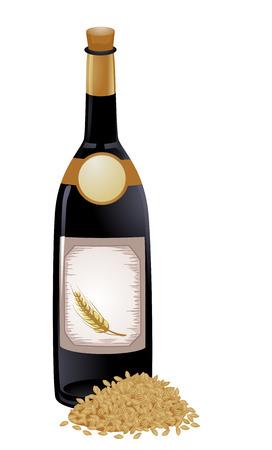 produits céréaliers: Illustration d'une bouteille de vin d'orge et d'une portion de grains d'orge