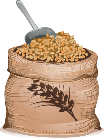 Illustration of a Brown Sack Full of Hulled Wheat Grains and a Grain Scoop Stock Photo