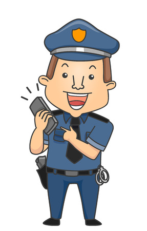 Illustration of a Man Pointing to his Mobile Phone gesturing Police Hotline Imagens - 80162688