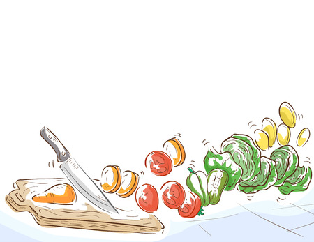 culinary skills: Border Illustration of a Knife Chopping Vegetables like Carrot, Tomatoes, Chayote, Cabbage and Ginger