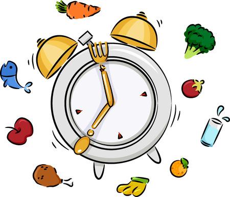 Illustration of a Ringing Alarm Clock Signalling Time to Eat Seven OClock Dinner Stock Photo