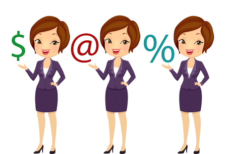 computation: Illustration of a Girl in Business Suit Presenting Dollar Sign, Email sign, and Percent Symbol