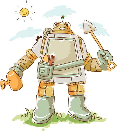 Illustration of a Smiling Robot Gardener Outdoors Holding a Spade and a Watering Can Stock Photo