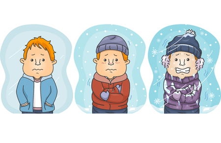 Illustration of Men Showing Degrees of Comparison from Cold, Colder to Coldest