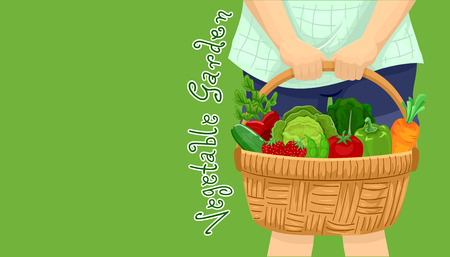 Illustration of a Girl Holding a Basket Full of Cabbage, Carrot, Strawberry, Tomato, Peas, Bell Pepper and Cucumber