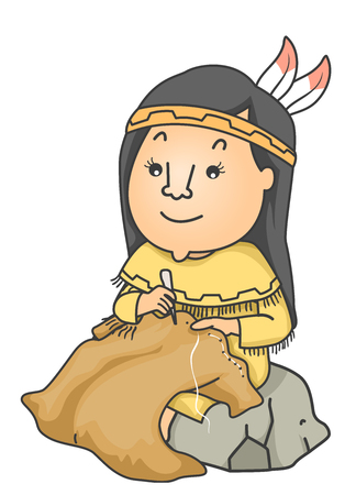 Illustration of a Girl Making Clothes Made from Animal Skins like Buffalo Skin