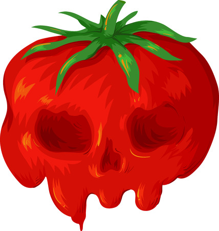 Illustration of a Genetically Modified Tomato Looking Like a Poisonous Skull