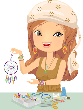 Illustration of a Girl Holding a Do-It-Yourself Dream Catcher with a Dreamcatcher Kit on the Table