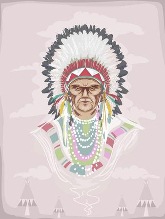羽飾りを身に着けているネイティブ アメリカンの部族の酋長の図