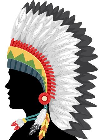 ネイティブ アメリカンの羽で作られた頭飾りを身に着けている男の図