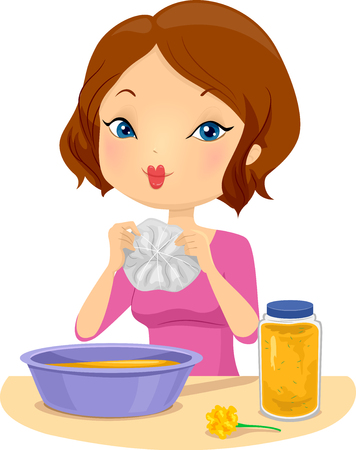 Illustration of a Girl Making a Tie Dyed T-Shirt using Yellow Marigolds Stock Photo