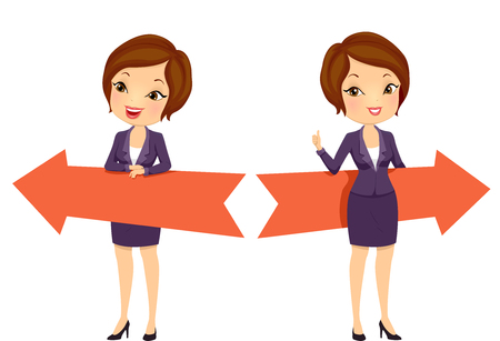 Illustration of a Girl in Business Suit Holding Left and Right Direction Arrows