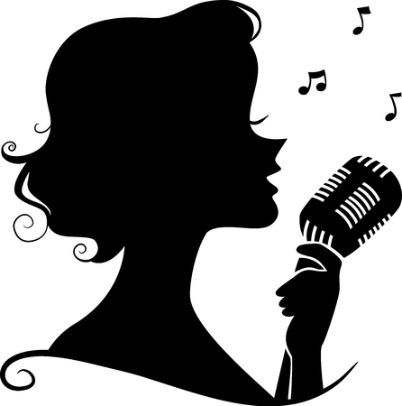 vocals: Illustration of a Girl Silhouette Holding a Retro Microphone Singing a Song Stock Photo
