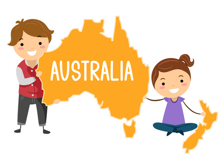 Illustration of Stickman Australian Kids Presenting the Continent of Australia Stock Photo