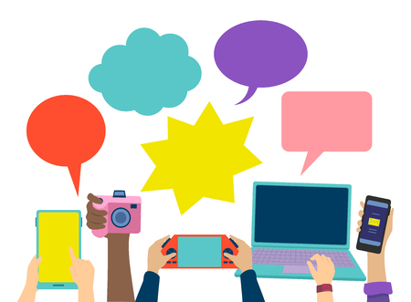 Illustration of People Holding Different Gadgets like Tablet, Camera, Console, Laptop and Cellphone with Speech Bubbles