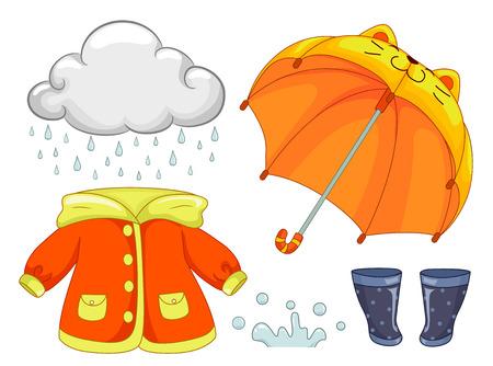 Ilustración de elementos de día lluvioso como lluvia, paraguas de gato, chubasquero, salpicaduras de agua y botas Foto de archivo - 81657317